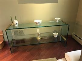 Contemporary Glass Table with Shelves and Home Decor  Furniture  Once and Again Consignment  Madison Montville NJ