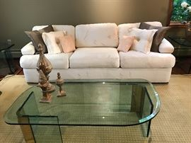 White Couch and Contemporary Glass Table with Home Decor  Furniture  Once and Again Consignment  Madison Montville NJ