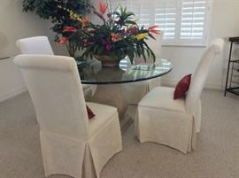 """Glass top Dining Room Table and Chairs. 54"""" diameter top."""