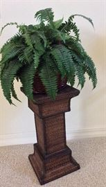 Plant Stand and faux fern.