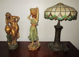"""Two plaster """"maiden"""" statuettes, Beautiful Stained Glass lamp w/ bronze base, missing one small glass piece"""