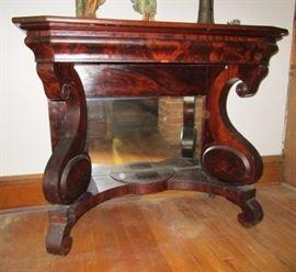 Mahogany hall table w/ mirror in base