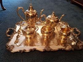 Sterling Silver 5 Piece Tea Set     Silverplate Tray