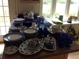 She loved colbalt blue!!!  Dishes, stemware, canister set, bowls etc.  some  included Flow blue