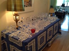 This entire table is Waterford.....bowls, decanters, vases, stemware, candlesticks, etc.