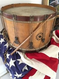 This antique snare drum might have been used as a field marching drum, but it is in amazing shape and a real beauty