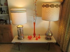 Fun retro lamps and coffee table
