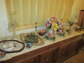 Marble top buffet with accessories