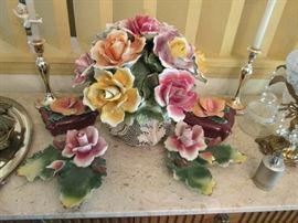Capodimonte vase with roses