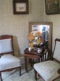 Victorian chairs & stands & mirror