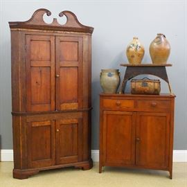 8.11 Walnut corner cupboard, Walnut jelly cupboard, stool, stoneware