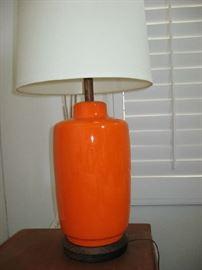 ORANGE CERAMIC MID CENTURY LAMP