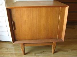 MID CENTURY SIDE TABLE / TAMBOUR DOOR