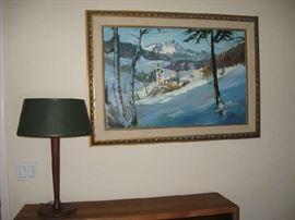 ORIGINAL SIGNED ARTWORK / BEAUTIFUL MID CENTURY DESK LAMP