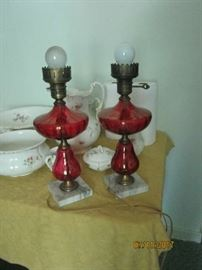Pr. depression glass lamps