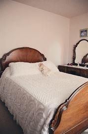 Antique Full Bed with Head & Footboard, Chenille Bed Covering & Shams