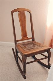 Antique Rocking Chair with Wicker Seat