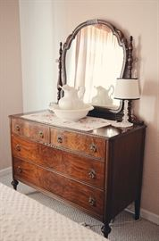 Antique Dresser with Mirror, Wash Pitcher & Basin, Lamp