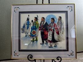 "Dorothy Sullivan's ""Woman's Dance""  Cherokee. Ms Sullivan's ancestors came from Georgia to Oklahoma along the ""trail of tears"" and her work exhibits her proud heritage. She is an award winning artist. Beautifully mounted to contribute to the picture, not detract from it."