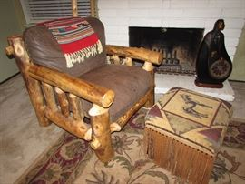 "Hewn Log Chair with Brown Leather Seat – Handmade Log Frame - 32"" Wide x 34"" Deep x 34"" Tall - Comfortable 20"" Seat"