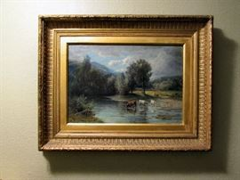 "John Smart, Scottish artist – 1897-1898 Original oil on canvass ""On the Dalchanzie"" River Landscape with Cattle. In it's original frame. Excellent condition. Beautiful piece. 32"" Tall x 36"" Wide"