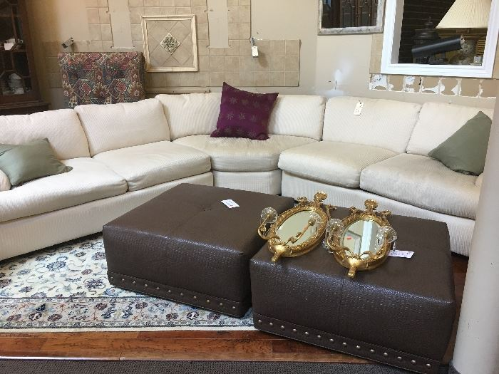 LARGE SECTIONAL COUCH , OTTOMANS