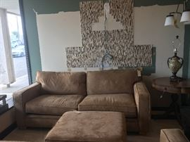 2 COUCHES AND AN OTTOMAN, MICRO FIBER