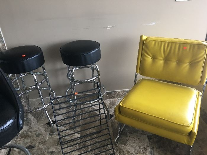 MID CENTURY YELLOW AND CHROME CHAIR