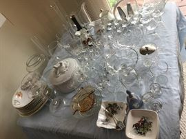 Assorted crystal, cut glass and hand painted china