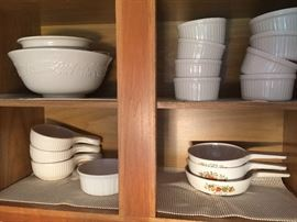 corning ware crocks and souffle cups