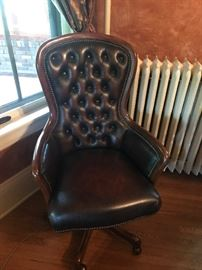 Randall Allen Tufted Back Brown Leather Swivel Chair