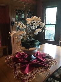 Large Silk Orchid Centerpiece in Ceramic Urn