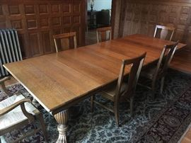 """Antique Quarter Sawn Oak Clawfoot 48"""" Square Dining Room Table w/ Ornate Beaded Apron & Stretchers; includes Six 1' Leaves w/ Aprons; 10' total length"""