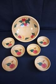 "Vintage Wooden Salad Bowl Set: by Rio Grande Woodenware with a 13"" serving bowl and six individual salad bowls hand painted with apples and apple vines. The set is in very good condition with no chips in the hand painted decoration or wear to the wooden bowls."
