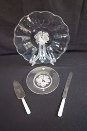 "Crystal Serving Lot with Cake Servers: 13"" Torte Plate and 8"" plate made in Brussels, Belgium by Val St Lambert (signed), two Treasure Masters stainless steel cake servers with ""Mother of Pearl"" handles 10"" and 12"") made in Sheffield, England . In excellent condition, as if never used."