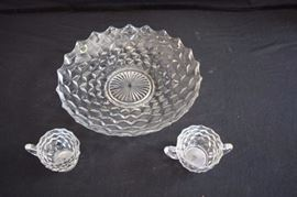 "3-Piece Fostoria American Hostess Set: includes clear 13"" shallow (1-7/8"") fruit bowl and 3"" cream and 3-1/2"" sugar. This lot is in very good condition and shows little wear, if any."