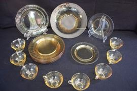 "20-Piece Yellow Depression Glass: 1930's 16-piece Madrid set including eight 4"" coffee/tea cups, eight 9-1/2"" dinner plates, three 7-1/2"" dessert plates and 11-1/2"" footed serving bowl. All plates are dodecagon or 12-gon sides (12 sided),probably by Tiffin, Heisey or Cambridge. Very good vintage condition - No chips, cracks, or deep scratching. As with all vintage items, some slight surface scratches can be seen on the tops of the plates from utensil use and some on the bottom from stacking . and the glass is bright and clear. No staining or discoloration."