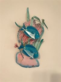Blue fish metal sculpture