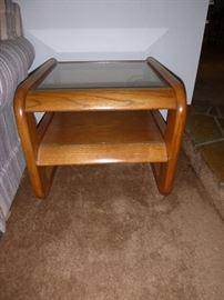 Oak glass top side table
