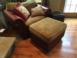 Leather and Chenille Club Chair & Ottoman AS IS (52'' x 39'' x 36'')