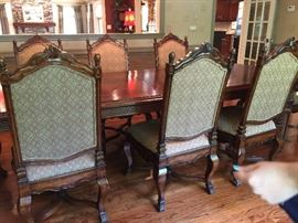 Ornate Distressed Mahogany Dining Chairs by Harden Furniture (6 Sidechairs, 2 Armchairs)