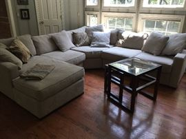 Off White 5 Pc. Sectional w/ 36'' Square Ottoman (116'' x 116'')