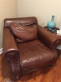 Leather Club Chair w/ Nailhead Detailing AS IS (41'' x 42'' x 34'')