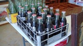 Metal COCA COLA Drink Carrier w/Bottles