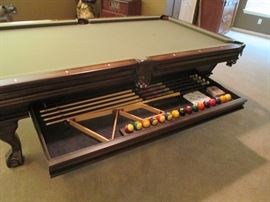 pool table storage drawer