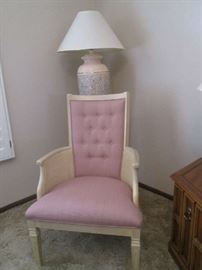 2 Matching Accent Chairs, Vintage, button-tufted with wicker detailing