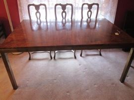 """Tomlinson"" hi-quality, contemporary Dining Room Table.  Burl wood and Bronze Metal Legs.  Size:  68"" X 45"" and includes 2-20"" Leaves.  Circa 1960's"