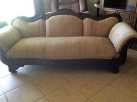 19th century horsehair sofa from the Astor estate on Sanibel