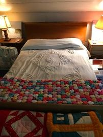 Chenille bedding and vintage Yoyo quilt