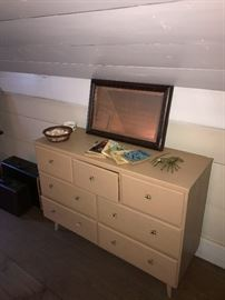 Mid century dresser with seashells, brass lobster, and ocean and seashell books. Beach house/cottage ready